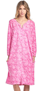Fleece Snap-Front Lounger House Dress duster long sleeve holiday nightgown house dress