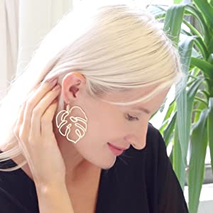 Monstera Leaf Earrings - Tropical Palm Plant Lightweight Boho Dangling Statement Drop Dangles