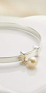 Sterling Silver First Pearl Baptism Newborn Baby's Bangle