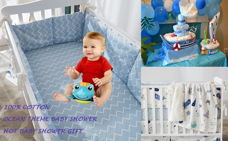 ocean animal baby shower gift baby bedding with underwater fish animal