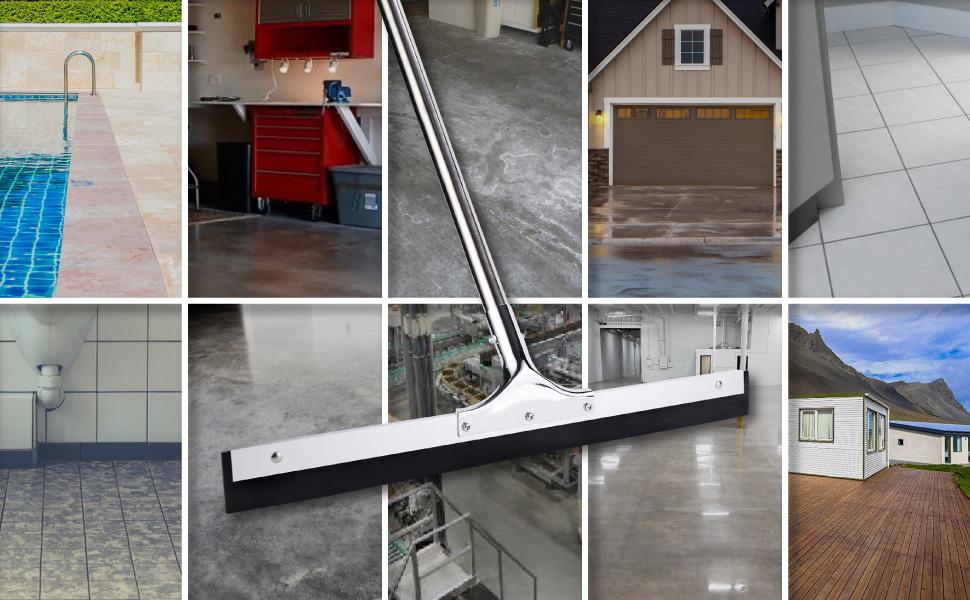 Floor Squeegee for tile, concrete, garage