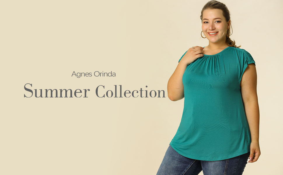 Women's Plus Size Round Neck Ruched Short Sleeve Blouse Summer Casual Top