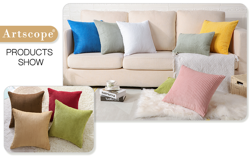 Cozy Striped Corduroy Pillow Covers Super Soft Decorative Oblong Throw Pillow Covers Case
