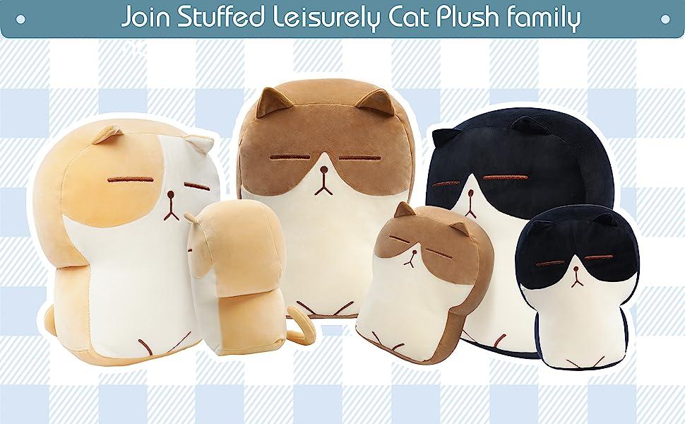 DENTRUN Stuffed Cat Plush Pillow, Big Hugging Chubby Cat Stuffed Animals