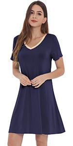 short sleeve nightgown v neck night shirt bamboo rayon sleep dress soft lounge wear pajamas nighties