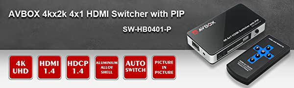 4x1 HDMI Switcher with PIP
