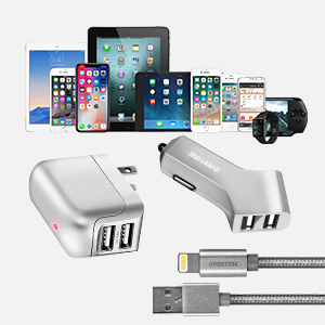 Apple MFI Certified Lightning USB iPhone Charger Kit - Wall & Car Charger Adapter