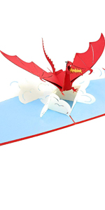 PopLife Red Flying Dragon 3D Pop Up Father's Day Card - Pop Up Happy Birthday Card, Congratulations