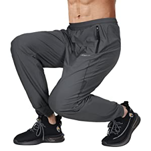 Mens Soft High Elastic Lightweight Jogger Pants Workout Running Athletic Training Gym Joggers