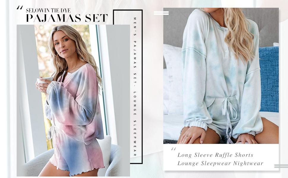 Women Pajamas Set Tie Dye Print Sleepwear Nightwear Soft PJS Loungewear