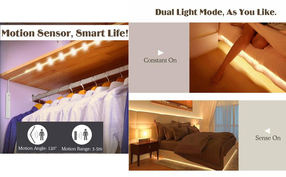 Motion Sensor Activated LED Light Strips 1M/2M/3M Rope Rechargable Wardrobe Closet Night Light