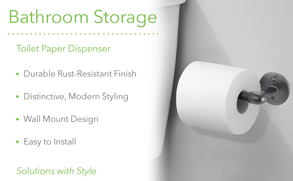 Bathroom storage toilet paper dispenser rustproof modern easy to install wall mount durable finish