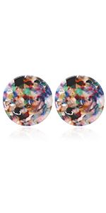 Dimentionally Sinuous and Sculptural Circle Motif with Mottled Acrylic Resin Stud Earrings for Women