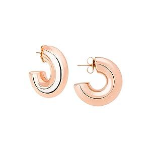 Small Hoop Earrings in Rose Gold