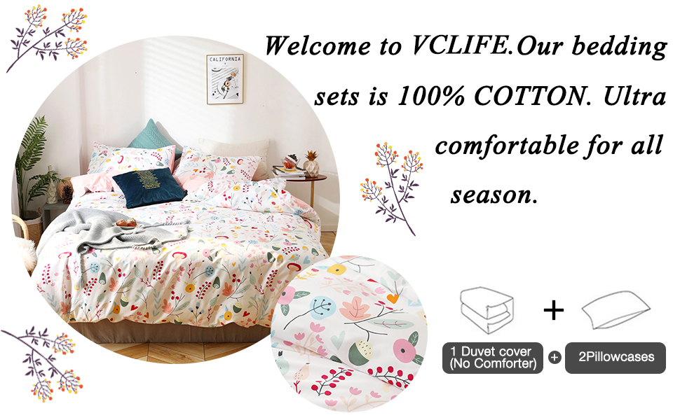 VClife Cotton Bedding Duvet Cover Sets Bedding Collection Queen//Full Luxury Soft Child Constellation Printed Bedding Quilt Cover Sets with Zipper Closure Corner Ties Lightweight Plaid Bed Sets