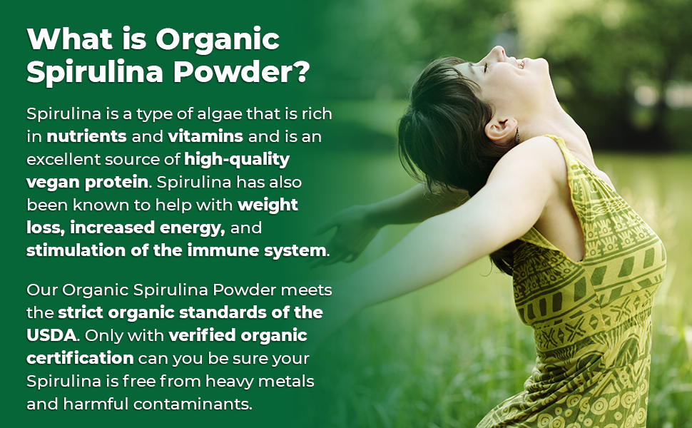 Zazzee USDA Organic Spirulina Powder is rich in nutrients and vitamins, and very high in protein.