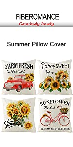 red car  bicyle sunflower summer pillow cover