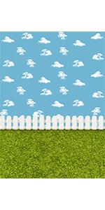 White Clouds Grassland Photography Backdrop Garden Baby Shower Birthday 5x7ft