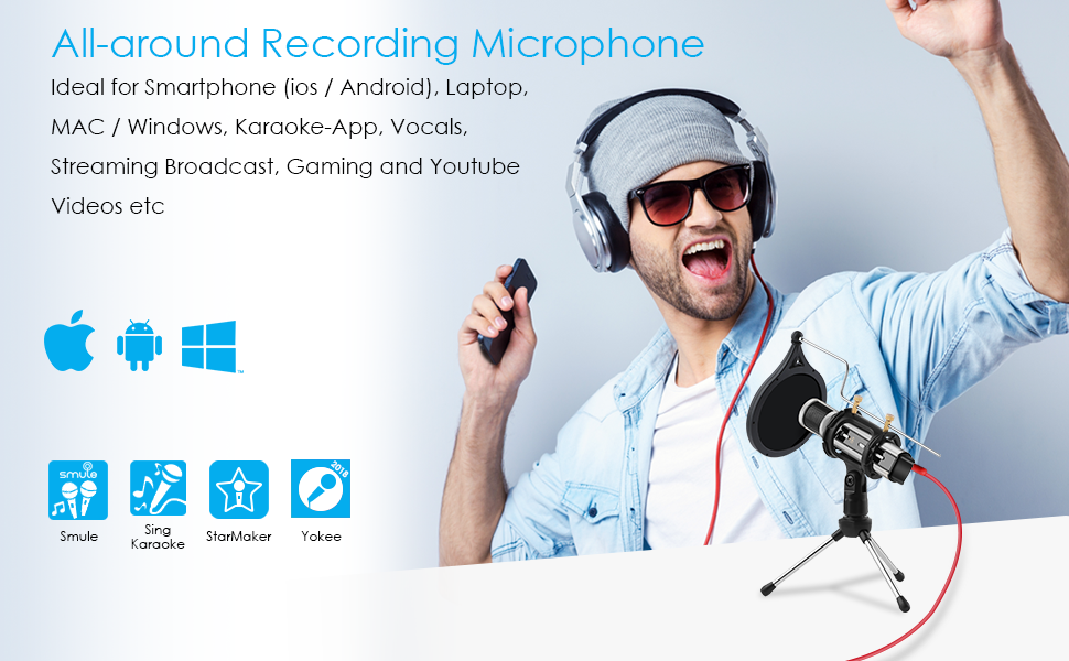 ZealSound Metal Condenser Recording Microphone for Laptop MAC Windows Computer and Phone w//Stand for ASMR Zoom Stream /& YouTube Video Studio Voice Overs Broadcast USB Microphone Rosegold