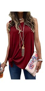 MODARANI Tie Knot Tank Tops Women Sleeveless Shirt Casual Soft