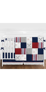 Red, White and Blue Baseball Patch Sports Baby Boy Crib Bedding Set with Bumper