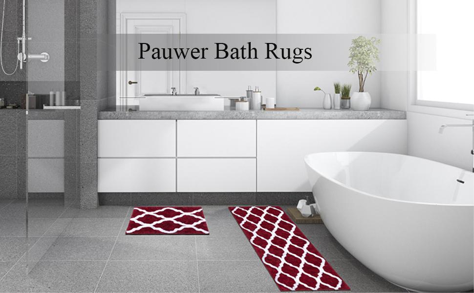 "Shower Rug Soft Plush Floor Mats Rug 18""x26""+18""x47"" Machine Washable for bedroom Blue"