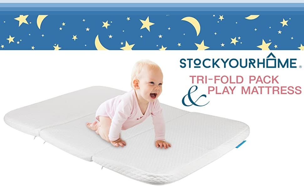 Stock Your Home Pack and Play Mattress Trifold Portable Mini Crib Roll Up Mattress