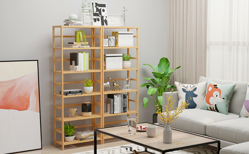 bamboo shelf 6 tier