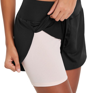Baleaf Women's Athletic Running Shorts Liner 2 in 1 Workout Quick Dry Pockets Drawstring Yoga Gym