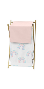 Pastel Rainbow Baby Kid Clothes Laundry Hamper - Blush Pink, Purple, Teal, Blue and White