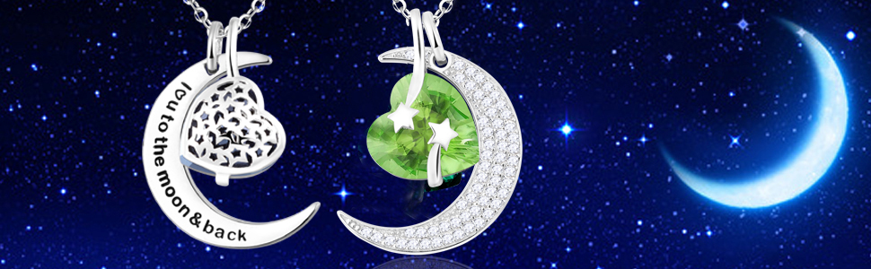 I love you to the moon and back necklace peridot for women birthday gifts mom wife girlds dughter
