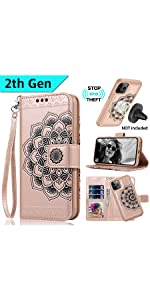 iPhone 11 pro Case,iPhone 11 pro Wallet Cases card holder Magnetic detachable women RFID Mandala