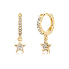 CZ Star Huggie Hoop Earrings