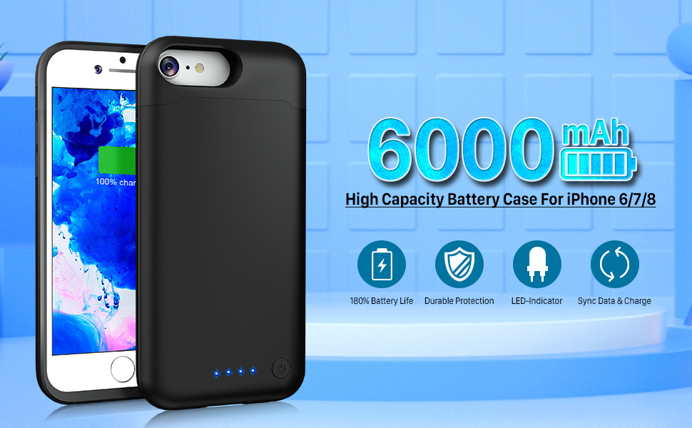 huge charger case for iphone 6 / iphone 7 / iphone 8