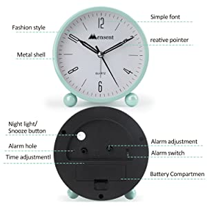 Mensent 4 inch Round Silent Analog Alarm Clock