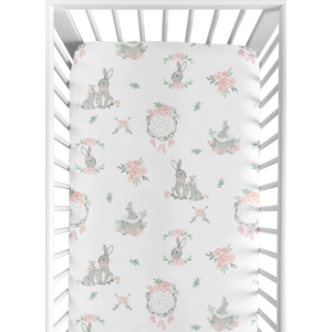 Pink and Grey Boho Dream Catcher Arrow Girl Baby Toddler Fitted Crib Sheet for Gray Bunny Floral