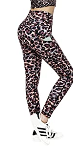High Rise Workout Leggings High Waisted Printed Yoga Walking Running Pants leopard Print XXL