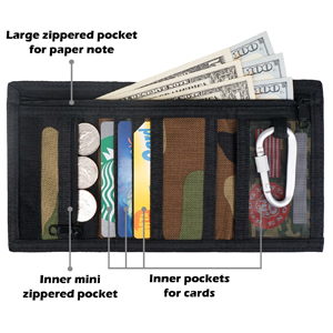 Camo boys wallet with zipper compartments card slots is good to store cash cards coins paper note