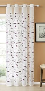 purple leaves sheer curtains