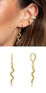 Snake Huggie Hoop Earrings