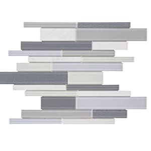 MTO0318 Modern Linear Gray White Glossy Glass Stone Mosaic Tile