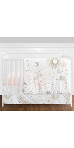 Pink, Gold, Grey and White Star and Moon Celestial Baby Girl Crib Bedding Set without Bumper