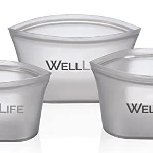 silicone food storage kitchen safe organic reuse recycle no plastic free containers pouches leftover