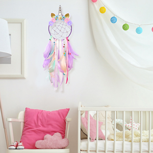 Unicorn Dream Catcher Colorful Feather Dream Catchers for Nursery Bedroom Wall Hanging Deco