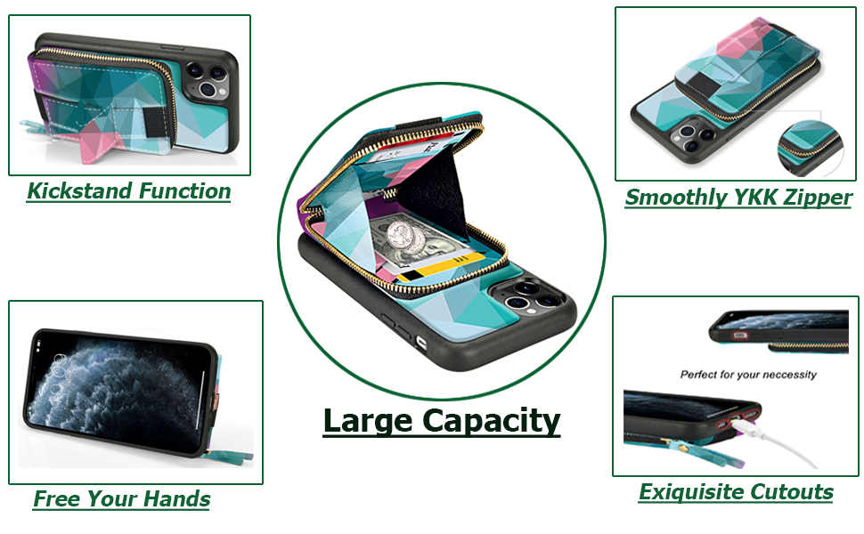 iphone 11 pro max wallet case with card holder kickstand