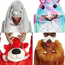 uncorn animal onesie costume pajamas for girls womens mens boys adult kids party deer lion rabbit