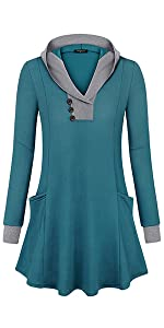 Casual Hooded Tunic Tops