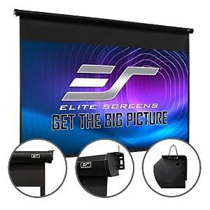Elite Screens pull down projector screen sturdy steel black white casing