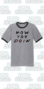 Pop Threads How You Doin Best Friends Funny Retro 90s Cute Graphic Tee Ringer T-Shirt