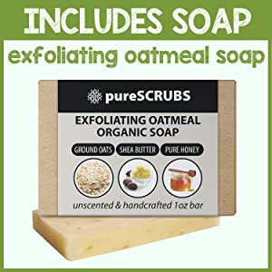 pureSCRUBS Lemongrass Body Scrub Includes Exfoliating Bar Soap